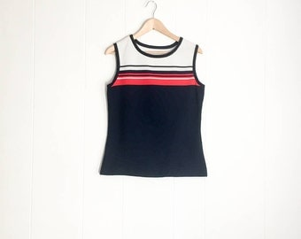 70s Top - 70s Vintage Clothing - Tennis Shirt - Vintage Tank Top - Red White and Blue - Vintage Top - 1970s Top - Workout Womens 70s