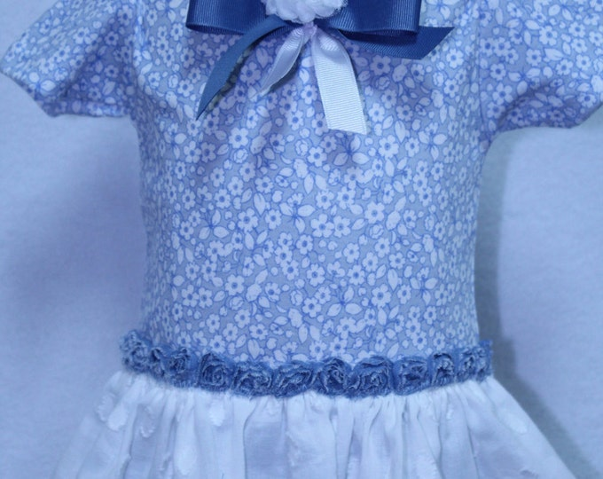 Laura Ashley look bodysuit,Country blue style bodysuit,New bbay gift,baby shower gift,Girl bodysuit with attached ruffle skirt,Blue headband
