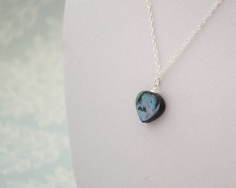 Blue Abalone Teadrop Necklace, Sterling Silver Blue Paua Shell Patterned Gemstone Necklace