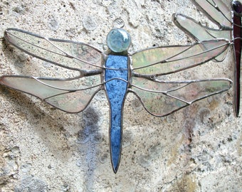 Stained Glass Dragonfly, Dragonfly Suncatcher, Baby Blue Glass, Dragonfly Glass Hanging, Midsummer Solstice Celebration, Baby Mobile