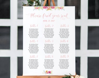 Floral SEATING chart Wedding seating chart Table assignment board Table arrangement Seating board Wedding seating plan Floral Seating sign