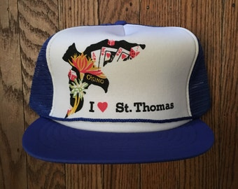 Vintage St. Thomas Vacation Tourist Travel Mesh Trucker Hat Snapback Baseball Cap