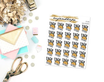 Taco Tuesday Stickers | DT 003 | Planner Stickers | Traveler's Notebook Stickers |