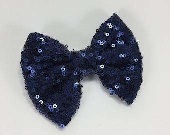 Navy hair bow.navy Headband.Glitter headband.blue hair clip.Sequin hair clip.sequin headband.glitter hair clip.baby headband.