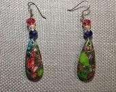 "Rainbow sea sediment jasper stone chandelier earrings with glass beads on gunmetal french hooks (2 3/4"" long)"