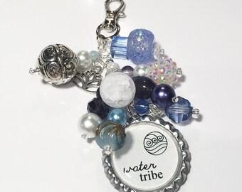 Water Tribe Purse Charm / Avatar The Last Airbender Legend of Korra Katara Sokka / Bottlecap Pendant / Beaded Jewelry / Zipper Pull Keychain