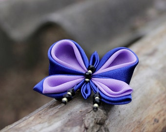 Purple butterfly brooch Small gift for mom from daughter Woodland brooch Nature lover gift Kanzashi Blue violet pin brooch Gift for girls