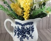 Vintage Blue Carnation Ironstone Creamer - Blue and White - Farmhouse Style - Cottage Style - Vintage Kitchenware - Small Flower Pot