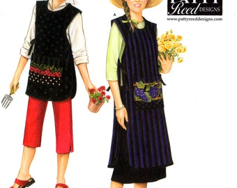 07 Simplicity 3818 Patty Reed Designs Gardening Aprons in Two Lengths, Uncut, Factory Folded, Sewing Pattern Multi Plus Size 6-24