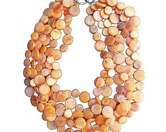 New Lustrous Multi Orange 6 Strands Of Mother Of  Pearl Coin Disc Necklace
