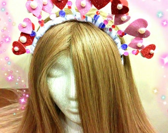 Valentines Day, Heart Headband, Pink And Red, Crown Hairpiece, Headdress Headpiece, Hair Accessory, Dress Outfit, Fairy Costume