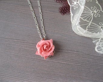 Coral bridesmaid jewelry  Coral necklace Coral roses necklace bridesmaid necklace Thank you gift Maid of honor gift sister necklace rose