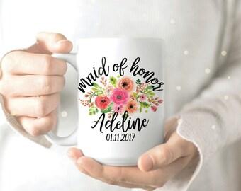 Maid of Honor Mug - Bridesmaid Mug - Pink Coffee Mug - Bridal Shower Mug - Maid of Honor Gift - Personalised Maid of Honor Mug
