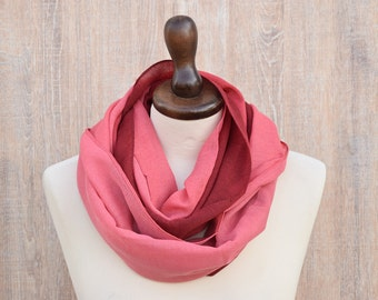 Infinity Scarf Ombre Red Gradient Boho Infinity Scarf Vivid Color Infinity Scarf Shawl Silky BohoHead Scarf Gift Valentine Gift for Her