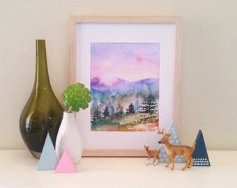 Pastel Mountain Landscape Watercolour Print, home decor, wall art, office art, painting, poster, pine trees, art print, sunrise, sunset