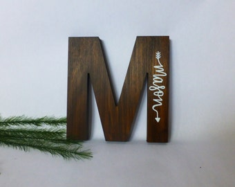 Wood Initial Sign - Hand Painted Name - Wooden Letter - Nursery Wall Art -