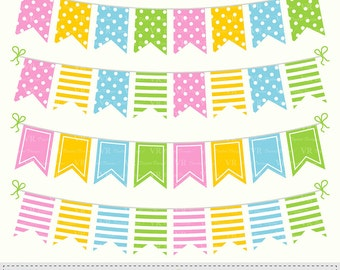 Flag Bunting Banners Clip Art, Birthday Party Bunting Banners Clipart, Colorful Bunting Flags Digital Download Vector Clip Art