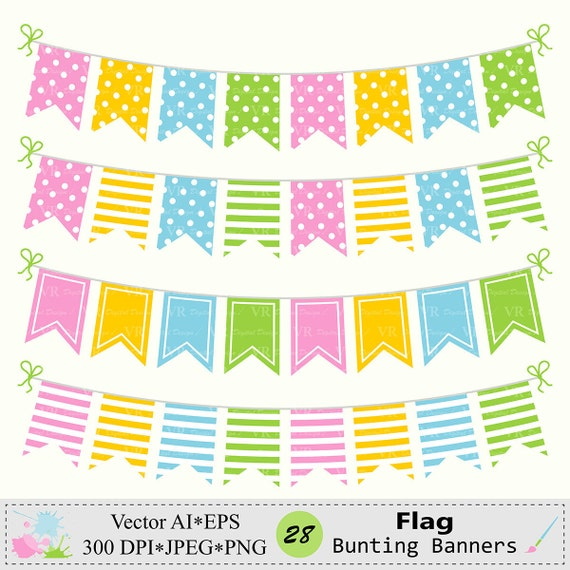 Flag Bunting Banners Clip Art, Birthday Party Bunting