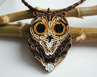 Polymer clay Owl necklace, Brown Owl necklace, polymer clay bird necklace, Owl lovers, Owl gift