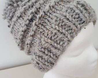 Gray Wool Pom Pom Hat