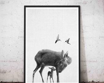 Woodlands Nursery Decor, Animal Deer Decor, Modern Minimalist Nursery Art, Deer Head Wall Mount, Deer Art, Woodlands Baby Deer Fawn Wall Art