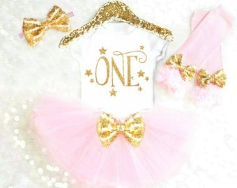 First Birthday Girl Outfit Pink and Gold Baby Girl First Birthday Outfit ONE Birthday Outfit Twinkle Star Birthday Outfit Stars ANY AGE BC1