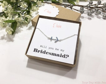 Anchor Necklace, Bridesmaid Gift, Bridedsmaid Neckalce, Bridesmaid Jewelry, Will you be my bridesmaid