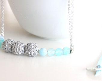 Minimal beaded neckalace handmade, statement necklace with beads, beaded necklace, crochet necklaces