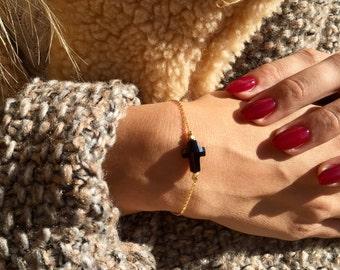 Gold or silver plated with black Swarovski Crystal Cross bracelet