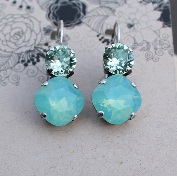 Swarovski Crystal Earrings - featuring 12mm Cushion Cut stones in Pacific Opal and 8mm stones in pale green Chrysolite