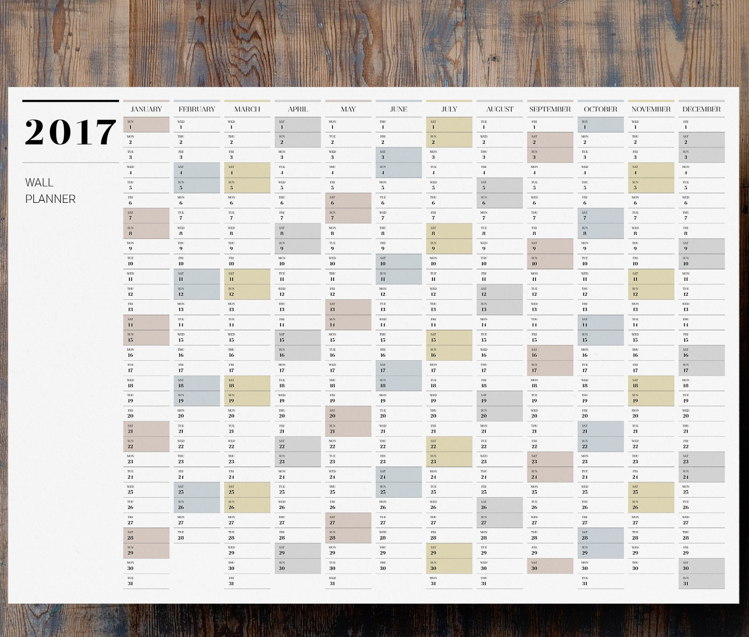 Printable Pdf A1 Wall Planner 2017 Large Full Year