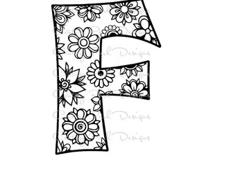 Letter F Alphabet Flowers SVG / JPEG / PNG /pdf / use with Silhouette Studio and Cricut Design Space - Commercial Use - Adult Coloring Page