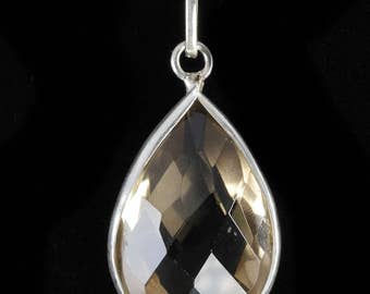 3.4cm Faceted CITRINE Pendant - STERLING SILVER Pendant, Yellow Citrine, Crystal Jewelry, Citrine Necklace, Citrine Jewelry Making J0495