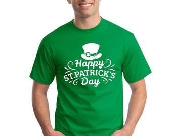 Happy St Patrick's Day Ireland Shamrock T Shirt Irish TShirt Vintage Man's Top Beer Paddy's Day T-Shirt