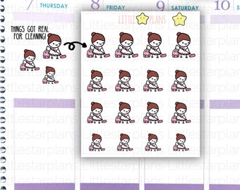 Mimi - Vacuum, House Chores, Cleaning is Real, Adulting Planner Stickers