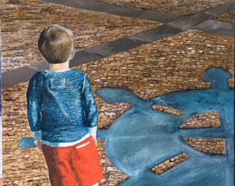 Boy looking at the river. Painting.