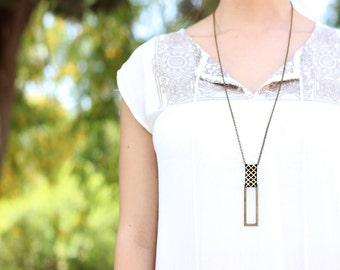 Rectangle pendant, gold and black pendant, long necklace, geometric pendant, brass pendant, urban necklace, unisex necklace