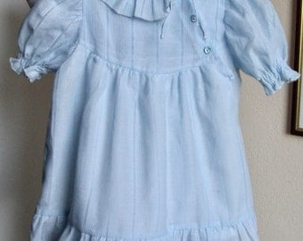 Vintage baby dress, blue baby dress