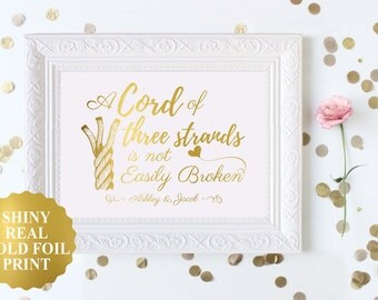 Three Cord Strand Wedding / Unity Candle Alternative / Ecclesiastes 4:12 / Cord Of Three Strands Wedding / Unity Cord / Wedding Sign Gold