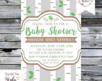"Baby Shower Invitation // Birch Trees and Bird // Gender Neutral // 5""x7"" // Personalized Printable"