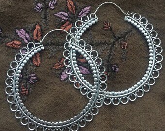 Silver-Plated Large Goddess Tribal Dotted Circle Hoop Hook Earrings