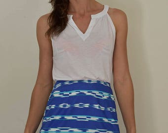 Blue Skirt, A-Line Skirt, Print Skirt, Small Skirt, Short Skirt, Print Skirt