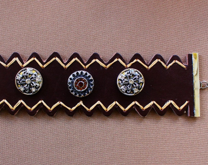 BEDOUIN WALKER, Genuine Brown Leather Ankle Bracelet with Interchangeable Rhinestone Noosa Buttons & Yellow Thread