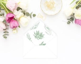Printable Envelope Liner  | Botanical Envelope Liner | Envelope Liner Template - Watercolor Succulents
