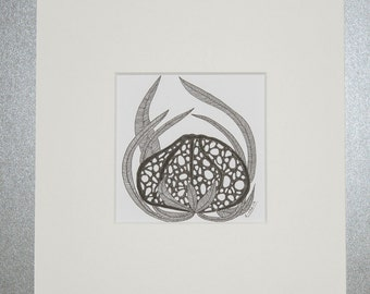 Art, drawing, abstract, geometry, illustration, decoration, living, wall decoration, flowers, mushrooms, black, grey, Fineliners, ink, type