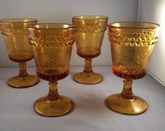 ON SALE:  Vintage Amber Glass Goblets - Set of 4