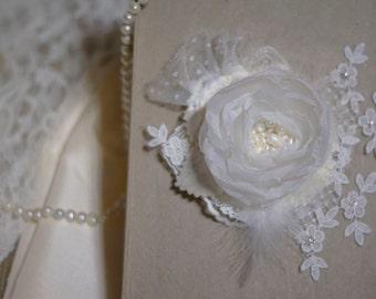 Ivory fascinator | bridal fascinator | bridal hair flower | fabric flower fascinator