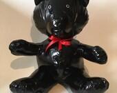 Ours BLACK - Peluche artisanale de collection en tissu ciré noir brillant - réservé B.