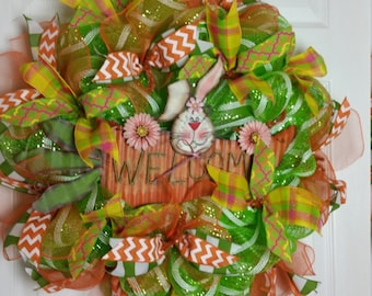 Inventory Sale, Deco Mesh, Easter/Spring Bunny and Carrot, Welcome Wreath