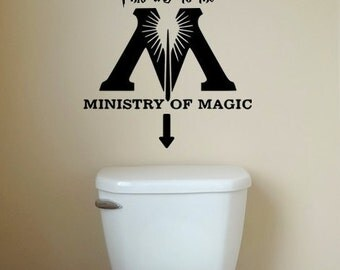 Harry Potter Wall Decal, Ministry of Magic, Harry Potter Bathroom Decor, Removable Wall Decal, This Way to the Ministry of Magic, Rent Decor